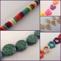 Howlite Turquoise shaped gemstone beads - Varied assortment of shapes