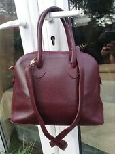 ITALIAN QUALITY VINTAGE 80 Burgundy Genuine LEATHER shoulder strap  tote Handbag