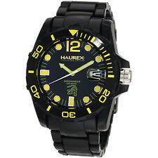 Haurex Italy Men's N7354UNY Caimano Yellow Indices Luminous Plastic Date Watch