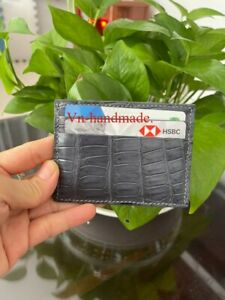 Gray   Crocodile skin credit card holder Card Case (Make your request)