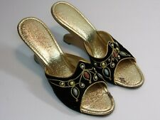 Vintage 1960's/1970's Black Open Toe Shoes w/Boomerang Heels