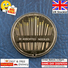 Assorted Hand Sewing NEEDLES -  Embroidery Mending Craft Quilt Case Sew 30pcs UK
