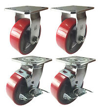 "6"" Heavy Duty Cast Iron Hub Non Skid Mark Wheels 2 Swivel Brake & 2 Rigid"