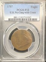 1787 FUGIO Copper Cent F12    RARE CROSS VARIETY    PCGS #880 Value $1100