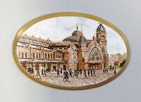 9959488 Porzellan Wand-Bild-Platte Medaillon fein handbemalt Stadtszene 19.Jh.