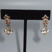 Drop Dangle Earrings Genuine Brown Orange Rhinestone Crystal Gold Tone Floral