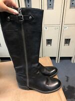Franco Sarto Black Leather Riding Boots Women's Size 8 M   L-panko