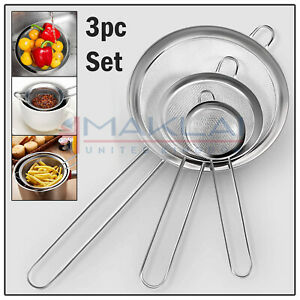 3pc Stainless Steel FINE Wire Mesh SIEVE SET Colander Tea Metal Kitchen Strainer