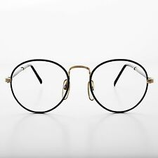 Polo Shape Round Clear Glass Lens Eyeglass Vintage New Old Stock Black- Alex