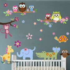 Cute Colourful Owls /Little Animal nursery children /baby/Kids room wall sticker