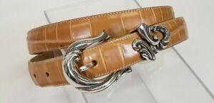 "Coldwater Creek XL Tan Belt 1"" Wide Silver Buckle 38 - 40 inch"
