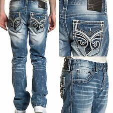 AFFLICTION Men's Denim Jeans ACE FLEUER PHANTOM Embroidered Biker ++