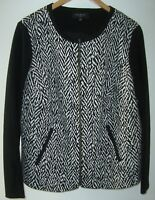 TALBOTS Black/White Herringbone Knit Blazer Jacket 14W Full Zip Front Pockets