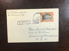 philippines cover VIA Clipper Ship 1941 1 peso stamp  to USA
