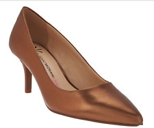 Isaac Mizrahi Live! Leather Pointed Toe Pumps Heels Toffee Women's Size 7 New