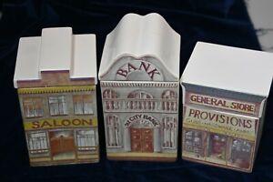 1981 J&G Morten Set of 3 Ceramic Storage Jars Ghost Town