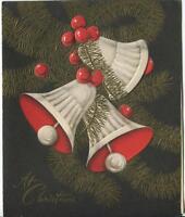 VINTAGE CHRISTMAS BELLS IVORY BROWN RED GOLD COLORS ART DECO NOUVEAU 1950'S CARD