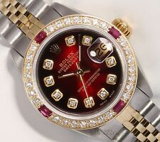 Rolex Lady Datejust 26mm 2 Tone 18k Ruby Diamond Bezel-Red Vignette Diamond Dial