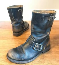 Frye Womens Brown Leather Distressed Buckle Straps Mid Calf Boots Sz 6.5