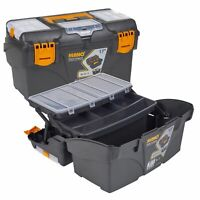 "17"" Plastic Tool Box Chest Lockable Removable Storage Compartments Cantilever"