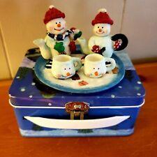 """Miniature 8 pc Snowman Winter Tea Set w/ Lunch Box.5 1/2"""" x 4"""" Excellent Cond"""