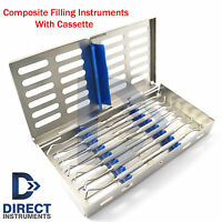 Dental Composite Filling Instruments Kit Spatula Plugger Restorative + Cassette