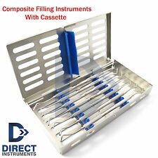 Dental Composite Filling Instrument Kit Restorative Spatula Plugger + Cassette