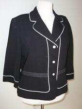 Julian Taylor Black White Piping Blazer Jacket Size 16