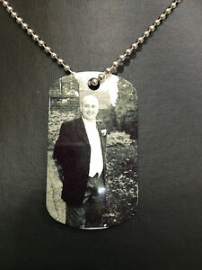 Memory Tag & Chain -Silver Necklace Jewellery Photo Plaque with Any Pic & Text