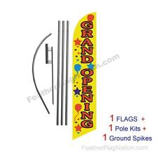 Grand Opening Yellow 15 Feather Banner Swooper Flag Kit With Polespike