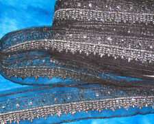 """3 yards 2"""" width black with sequined embroidery silver thread trim"""