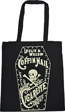 BLACK COTTON TOTE BAG COFFIN NAIL CIGARETTE VINTAGE ADVERT DEATH SKULL TATTOO