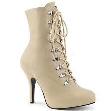"""PLEASER Sexy 5"""" Heel Cream Matte Lace Up Ankle High Boot Large Sizes EVE106/CRPU"""