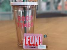 Starbucks  Mug Cold Cup  Ban.do Good Times  ST CC  16 oz   Thailand w/  Fun Card