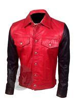 Justin Bieber  Black & Red Vintage Bomber Slim Fit Stylish Leather Jacket