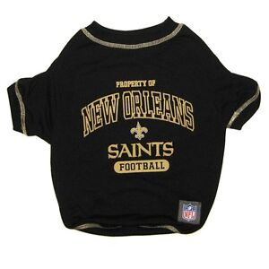 NEW ORLEANS SAINTS Officially Licensed NFL Dog Pet Tee Shirt, Black Sizes XS-XL