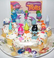 """Dreamworks Trolls Movie Cake Toppers Set of 17 Fun Figures and Troll """"Jewels"""""""