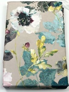 VIOLA 60 x 84 Floral Indoor Outdoor Tablecloth Spillproof Easy Care Teal Gray