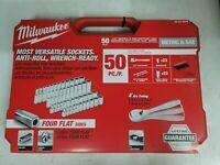 Milwaukee 50pc 1/4dr Socket Wrench Ratchet Set SAE & Metric, Short & Deep w/Case