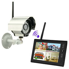 2.4GHZ Wireless CCTV 4CH CCTV DVR Security System Monitor + Night Vision Camera