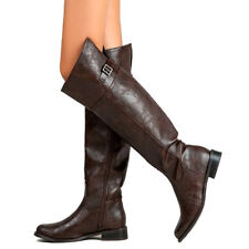 Women Tall Knee High Riding Equestrian Buckle Faux Leather Fashion Winter Boots