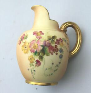 A larger antique porcelain Royal Worcester flat back blush ivory Jug C.1903