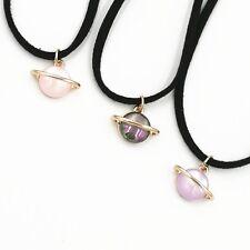 GALAXY PLANET PENDANT BLACK CHOKER NECKLACE / Jewellery Gift Idea Space Universe