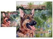 GERMAN SHEPHERD DOG HARDBOARD PLAQUE and LENS CLEANING CLOTH SANDRA COEN ARTIST