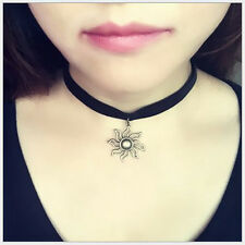 New 90's Black Velvet Choker Sun Pendant Necklace Goth Gothic Grunge Retro Chain