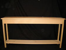 """Unfinished 60"""" Console, Sofa, Foyer Beveled Edge 11""""deep Pine Table w/Shelf"""