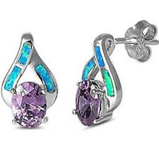 Faceted Amethyst & Blue Opal High Fashion .925 Sterling Silver Earrings