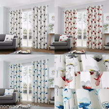 Fusion Keene Printed Watercolour Flowers Lined Eyelet Curtains Grey 228cmx228cm