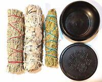 SET of 3 Sage Smudge Stick SAMPLER and Black Pot Burner, White, Blue and Cedar