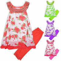 Girls Floral Dress Leggings Set Kids Summer Tunic Top Outfit New Age 2-10 Years